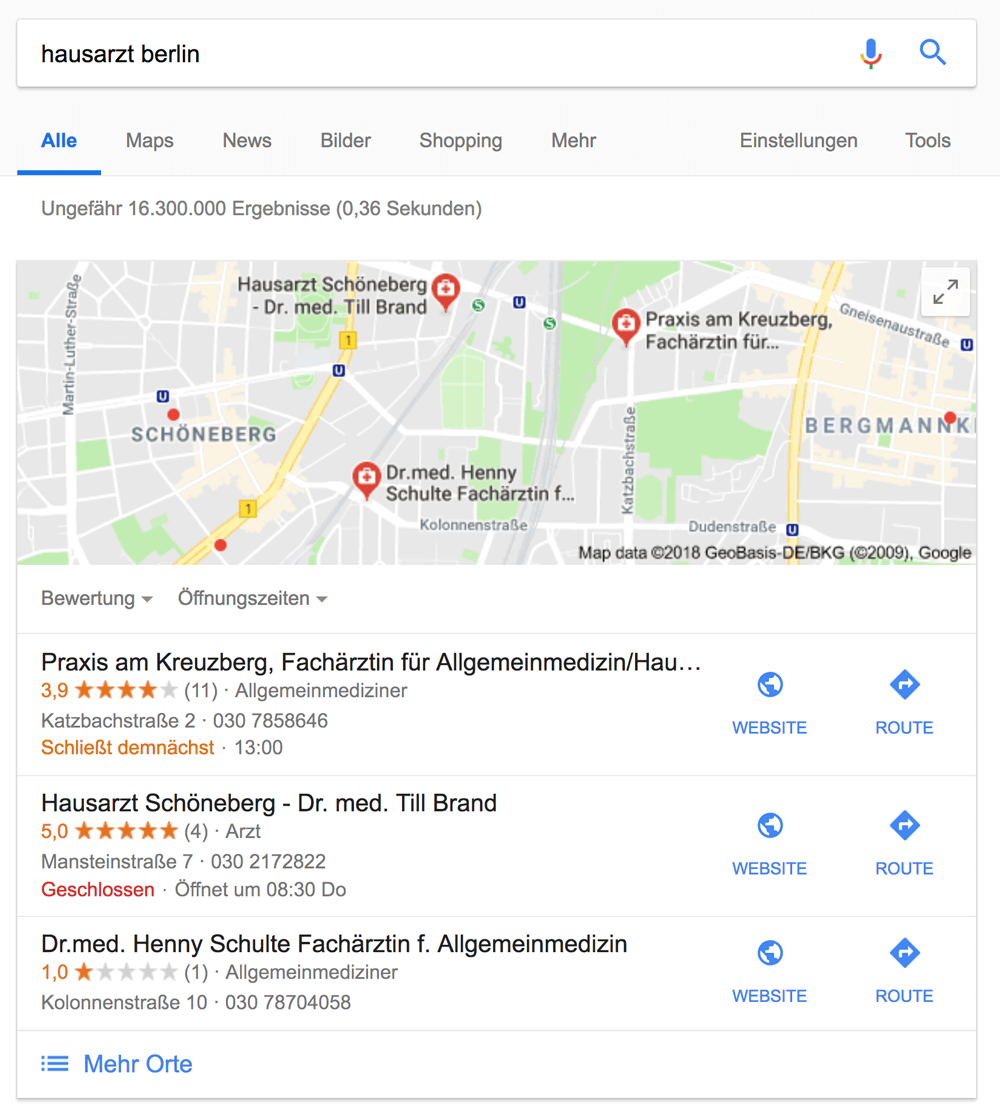 Hausarzt local SEO